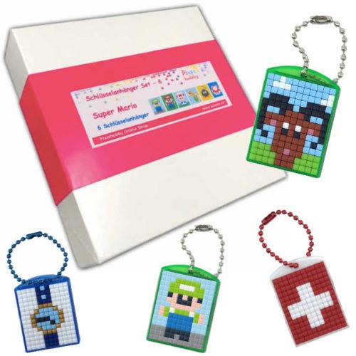 Pixel Schlüsselanhänger Geschenk Set