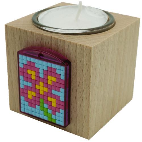 Teelichthalter mit Glas aus Holz
