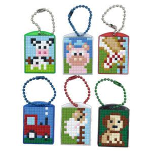 Pixel Schlüsselanhänger Geschenkset Bauernhof