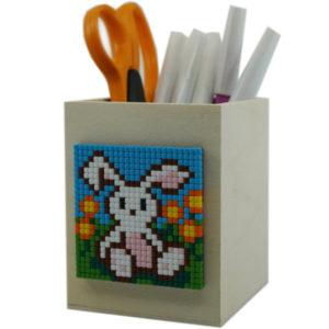 Stifthalter Holz mit Pixelbild