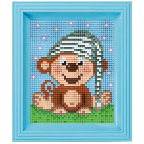 Pixel Geschenkset im Rahmen Affe mit Schlafkappe
