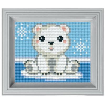 Pixel Geschenkset im Rahmen Eisbär Baby