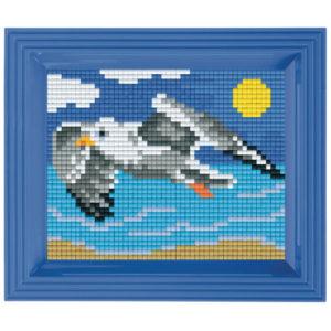 Pixel Geschenkset im Rahmen Möwe