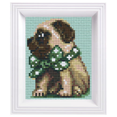 Pixel Geschenkset im Rahmen Mops boy