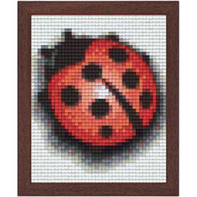 Pixel Bild im Holzrahmen Marienkäfer