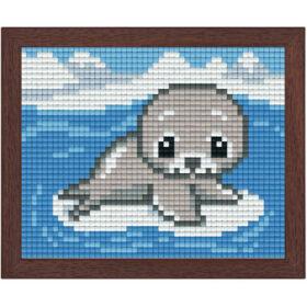 Pixel Bild im Holzrahmen Robbe