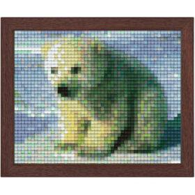 Pixel Bild im Holzrahmen Eisbär