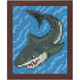 Pixel Bild im Holzrahmen Hai