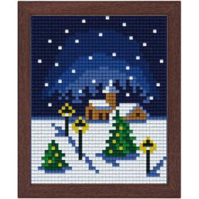 Pixel Bild im Holzrahmen Weihnachten