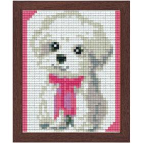 Pixel Bild im Holzrahmen Hund