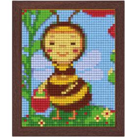 Pixel Bild im Holzrahmen Biene
