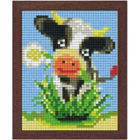 Pixel Bild im Holzrahmen Kuh