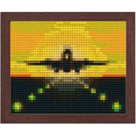 Pixel Bild im Holzrahmen Flugzeug