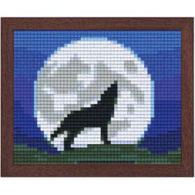 Pixel Bild im Holzrahmen Wolf