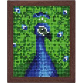 Pixel Bild im Holzrahmen Pfau
