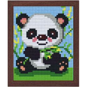 Pixel Bild im Holzrahmen Panda