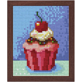 Pixel Bild im Holzrahmen Cupcake