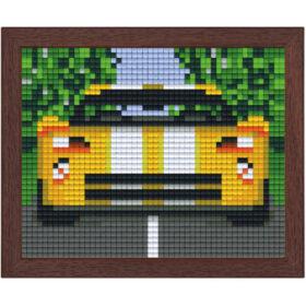 Pixel Bild im Holzrahmen Rennauto