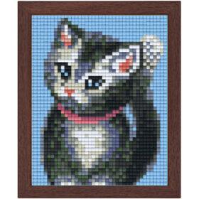 Pixel Bild im Holzrahmen Katze
