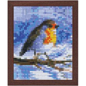 Pixel Bild im Holzrahmen Vogel