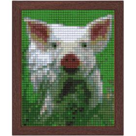 Pixel Bild im Holzrahmen Schwein