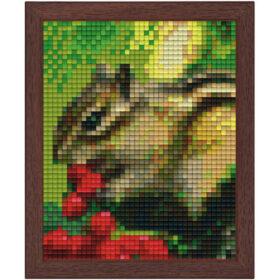 Pixel Bild im Holzrahmen Eichhörnchen