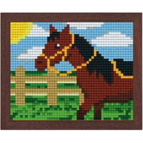 Pixel Bild im Holzrahmen Pferd