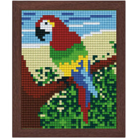 Pixel Bild im Holzrahmen Papagei