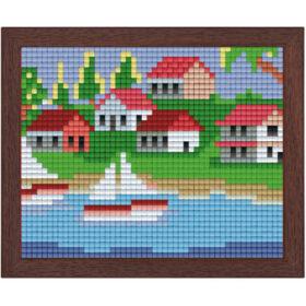 Pixel Bild im Holzrahmen Segelschiff