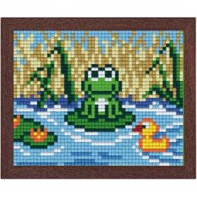 Pixel Bild im Holzrahmen Frosch