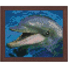 Pixel Bild im Holzrahmen Delphin